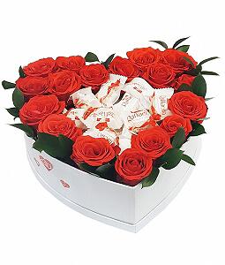 Gėlių dėžutė su Rafaello - Gėlių pristatymas į namus Šiauliuose