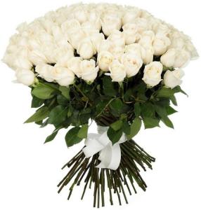51 balta rožė - Gėlių pristatymas į namus Mažeikiuose