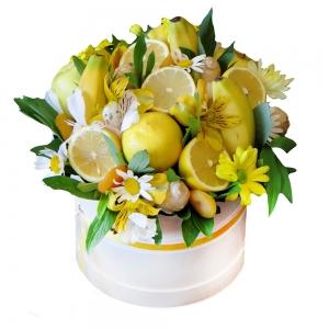 Valgoma/Nevalgoma puokštė Citrusinė gaiva - Gėlių pristatymas į namus Kėdainiuose