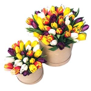 Tulpių dėžutės mamytei ir dukrytei - Gėlių pristatymas į namus Vilniuje