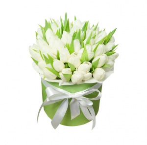 Baltų tulpių dėžutė - Gėlių pristatymas į namus Kaune