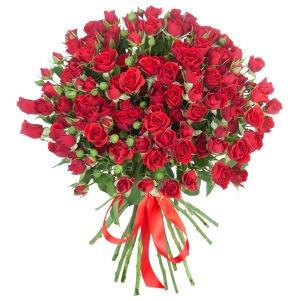 Raudonos smulkiažiedės rožės - Gėlių pristatymas į namus Druskininkuose