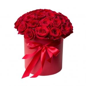 Raudonos rožės dėžutėje - Gėlių pristatymas į namus Marijampolėje