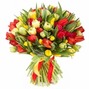 Ryškios spalvos 101 tulpė - Gėlių pristatymas į namus Vilniuje