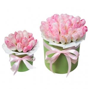 Tulpių dėžutės mamytei ir dukrytei 4 - Gėlių pristatymas į namus Vilniuje